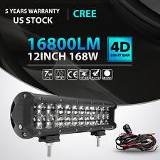 4D+ 12INCH 168W Cree LED Work Light Bar Combo Offroad Lamp DRL Car Pickup ATV 22