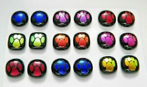 PAW PRINT ETCHED Lot 18 pcs DICHROIC FUSED GLASS pendant (D9) CAB HAND MADE