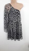 WOMENS A X PARIS GREY & BLACK LEOPARD PATTERENED ONE OFF SHOULDER DRESS UK 10