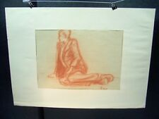 Man Lounging  Looking Out Original Red Pencil 1950 by C. Schattauer Kelm