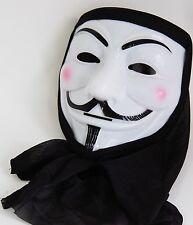 V for Vendetta PVC Mask with Black Hood Fancy Dress Costume Bonfire Party