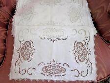 Antique 1920's Italian White Linen Placemats~(12) Twelve~Rose filet lace~cutwork