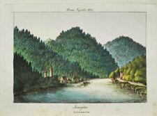 c1810 Sarmingstein Strudengau Donau Kolorierte Kupferstich-Ansicht