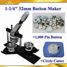"Diy Pro N4 1-1/4"" 32mm Button Maker+Circle Cutter+1,000 All Metal Pin Badge"
