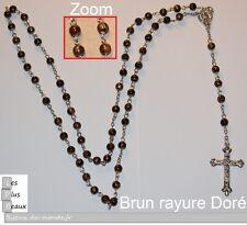 CHAPELET BRUN + Zebré Doré  FASHION CRISTIANO ROSARY NEUF