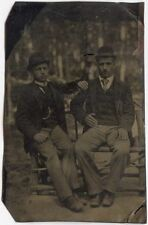 CIVIL WAR ERA OUTDOOR TINTYPE 2 MEN SHOWING AFFECTION / PIN STRIPED PANTS