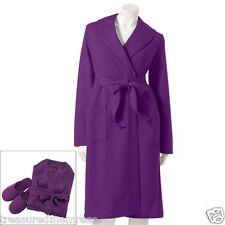 2 Piece Sleepwear Robe & Slippers Set ~ Size Medium (8-10) ~ Purple ~ NWT
