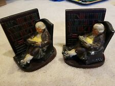 Vintage Heavy Hand Painted Cast Iron Man Reading In Library Bookends Decor