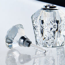 Vintage Clear Crystal Cut Glass Perfume Bottle Diamond Stopper Refillable 4ml