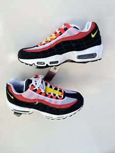 Nike Air Max 95 Essential White Black Yellow Red AT9865-101 Men's Size 9