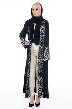Black Abaya with beautiful black design on cuffs Modest Abaya kimono Dress
