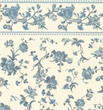Dolls House Raffina Blue Rose Miniature Print 1:12 Scale Wallpaper 3 Sheets