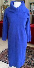 Ultra Soft Royal Blue Hand-Knitted Sheath Dress w/ Big Turtleneck Collar