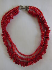 Triple Strand Red Coral Bead & Nugget Torsade Choker Necklace Sterling Silver