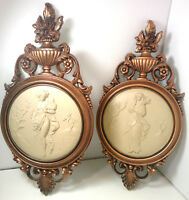 Vintage  COPPERCRAFT GUILD Ladies Wall Plaques Nude Cameo Style Decor 4056A & B