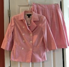 NEW BROOKS BROTHERS Pink White jacket and skirt Lined 100% Supima Cotton 4/6