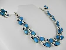 Vintage LISNER Glowing Frosted Blue Thermoset Lucite Leaf Necklace Earrings Set