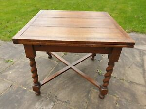 Oak Dining Table with Barley Twist Legs and Two Drawer Leaves – Collect Only