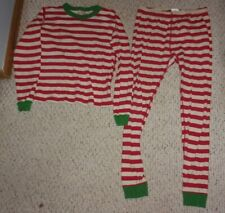 Hanna Andersson Red & Ivory Striped Pajamas w/ Green Trim, 150 or US Size 12