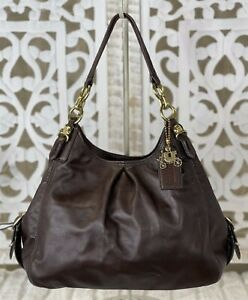 COACH Madison Maggie Mia Brown Leather Hobo Shoulder Bag Handbag Purse 15742
