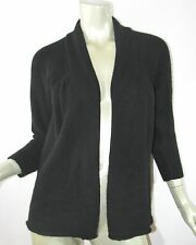 VINCE Black Thick Open Front 100% Cashmere Cardigan Sweater Sz L NICE!