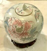 Chinese Porcelain Lidded Ginger Jar Handpainted in Macau Floral Birds on Stand