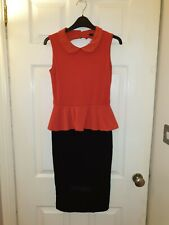 TFNC Black and Red Coral Peplum Collared Cutout Dress UK SIZE 10