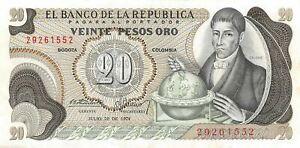 Colombia  20  Pesos  7.20.1.974  P 409c  ERROR W/dot Circulated Banknote J25C