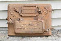 Antique Primitive Cast Iron Red Cross Stove and Furnaces Stove Piece Rare