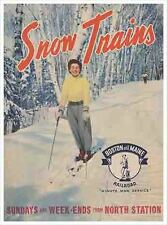 Snow Trains 1934 Ski poster Reproduction Boston Maine Railroad North Station Art