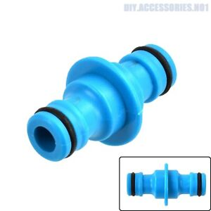2 Way Garden Hose Connector Joiner Coupler Watering Water Pipe Tap Male Blue
