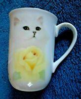 OTAGIRI, WHITE KITTY CAT & YELLOW ROSE CUP MUG  SIGNED by BOB HARRISON