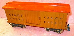 Lionel PreWar 114 CM&STP Boxcar Standard Gauge #98237 w/Figure Orange ORIGINAL