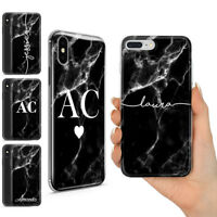 PERSONALISED BLACK WHITE MARBLE NAME INITIAL CUSTOM GEL PHONE CASE FOR IPHONE 12
