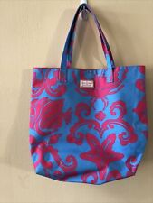 Lilly Pulitzer For Estee Lauder Tote Bag Beach Cosmetic Pink And Blue 16� x 14�