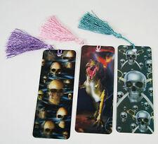 3 Bookmarks - 3D Lenticular - SKULLS, DINOSAURS with Tassles