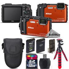 Nikon COOLPIX W300 Waterproof Digital Camera (Orange) + Extra Battery - 32GB Kit