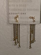 Dangle Strand Post Earrings ~New Anthropologie Gold Tone Rhinestone Stars