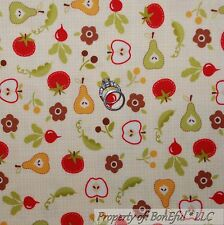 BonEful Fabric FQ Cotton Flannel Quilt Yellow FRUIT Flower Red Orange Green Pear