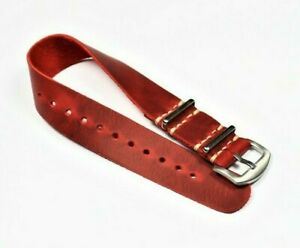 Red leather watch band 18mm-24mm One-Piece Strap  Personalized Handmade Custom