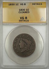1830 Coronet Head Large Cent 1c Coin ANACS VG-8 Details Cleaned