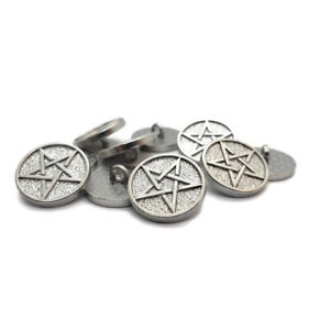 10pcs Pentagram Pentacle Buttons Antiqued Silver Round Sewing Metal Carved 16mm