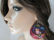 African American Earrings Black Girl Earrings Afro Girl Earrings Graffiti Ethnic