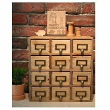 Garden Shed Greenhouse Seed Storage Drawers Wooden Mini Chest With Metal Handles