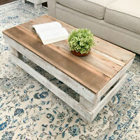 Rustic Farmhouse Coffee Table Solid Reclaimed Wood Display Storage Brown/White