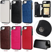 Back Credit Card Slot Premium Slim Leather Case Cover For  Apple iPhone 7 8 Plus