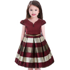 Girls Dress wine and gold belted dress stripe party princess age 5 yrs BNWT