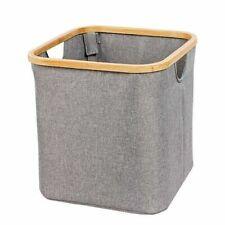 Bamboo rim Storage Basket Grey Fabric Home Storage Solution.