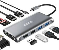 USB C Hub, 11 in 1 Station, 3 Display Adapter, Dual HDMI, VGA, USB C Out 4K