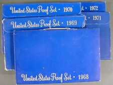 Lot Of 5 Complete 1968 Through 1972 US Proof Sets Mint Sealed Cameo